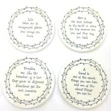 East of India PORCELAIN Leaf COASTERS - 8 Sayings to Choose From BRAND NEW