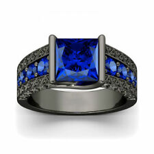 2.40Ct Princess Cut Sapphire Diamond Engagement Wedding Ring 14K Black Gold Over