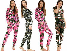 New Womans Army camouflage print 2 piece tracksuit jogging lounge Camo suit