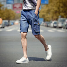 Hot US Size Mens Cargos Jeans Pants Denim Pockets Trousers Summer Casual Shorts