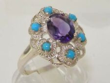 English Hallmarked 925 Sterling Silver Natural Amethyst Turquoise Cluster Ring