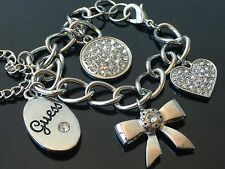 NWT Silver Gold Woman Bracelet Necklace Crystal Heart Charms w Guess Print GB32