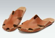 Mens leather  beach leather Sandals loafer Casual gladiator slipper Shoes