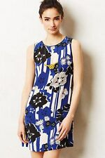 NWT Anthropologie Canna Shift Dress By Maeve, Size 0, 4, Blue Motif