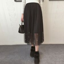 Women Elastic Waist Lace Length Skirt Pearl Beaded Gauze Pleated Solid Skirts UK