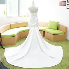 White/ivory Mermaid wedding dress bridal gown & Tail Silk custom 6 8 10 12 14 16