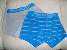 2 PAIR GIFT PACK MENS BOXER SHORTS 'PIERRE ROCHE'  - PLAIN/STRIPE SIZES  S - M -