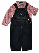 P00186WH US Polo Assn Baby Boys Red Checks Shirt 2pc Denim Overall Set