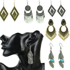 NEW Retro Boho Antique Turquoise Feather Coin Drop Dangle Earring Women Jewelry