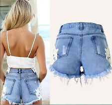New Women Girls Sexy Causal Summer Tassel Lace Hole Denim Hot Pants Jeans Shorts
