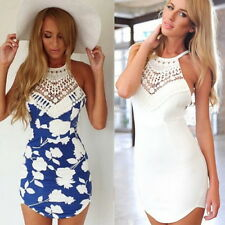 Womens Sexy Backless Floral Lace Summer Beach Bodycon Mini Party Dress WS