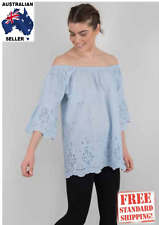 Brand New Womens Boho Australia  Light Blue Dover Top, Size S,M,L, Free Shipping
