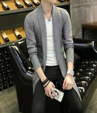 Mens Slim Knitting Trench Jacket Cloak Coat Long Cardigan Overcoat Cotton Blend