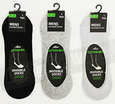Trainer Socks Plain Invisible Cotton Socks Black White Silver 6-11 UK size Gym