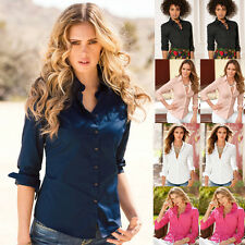 Womens Turn Down Collar OL Long Sleeve Blouse Ladies Office Work Shirts Clothing