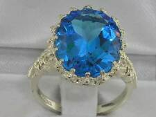 English Hallmarked Solid 925 Sterling Silver Natural Topaz Ring