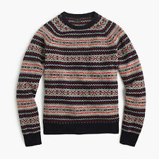 New J Crew Lambswool Fair Isle Mens Knit Sweater Navy Beige Red NWT