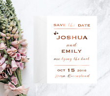 Save the date Custom Cards / Copper Foil Save the date Invitations / Wedding set