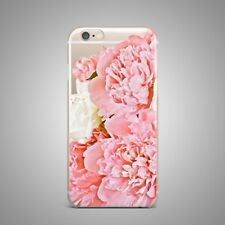 Pink Roses Floral Flower Design TPU Silicone Rubber Clear Case Cover for iPhone