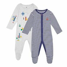 Bluezoo Kids Pack Of Two Baby Boys' Grey And Navy Stripe Sleepsuits