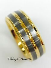 Tungsten Ring, Wedding Bands, Yellow Gold Wedding Rings for Mens and Women  8mm