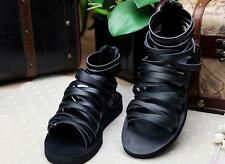 Runway Mens strap zipper synthetic Gladiator Roman Leather Ankle Boots Sandals