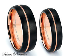 Matching Wedding Bands, Rose Gold Black Tungsten Wedding Bands, Rings, 6mm, 8mm