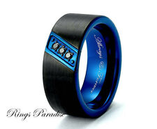 Mens Blue and Black Tungsten Band, Mens Ring, Mens Wedding Bands, Mens Rings 8mm