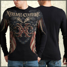 Xtreme Couture Rocket Crows Shield USA Flag Mens Long Sleeve Thermal Black S-2XL
