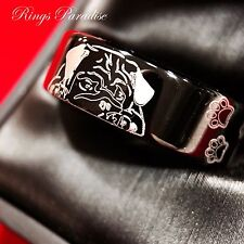 Black Tungsten Ring, Tungsten Bands,Cute Dog Foot Print Engraved Ring, Dog Ring