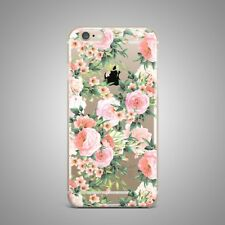 Retro Roses Floral Flower Design TPU Silicone Rubber Clear Case Cover for iPhone
