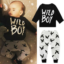 2pcs Toddler Baby Boy Kid Long Sleeve Tops T-shirt+Pants Trousers Outfit Clothes