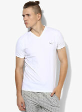 Pepe Jeans White Solid Regular Fit V Neck MEN T-SHIRT EDH