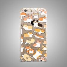 Cute Funny Puppy Dog Art Design TPU Silicone Rubber Clear Case Cover for iPhone