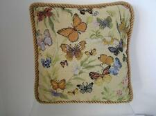 "Finished Custom Butterfly Needlepoint Pillow 12"" x 12"" zipper backed petit point"