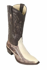 LOS ALTOS WINTER WHITE GENUINE SNIP TOE OSTRICH LEG WESTERN COWBOY BOOT (EE)