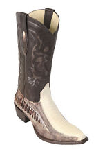 LOS ALTOS WINTER WHITE GENUINE SNIP TOE OSTRICH LEG WESTERN COWBOY BOOT (EE+)