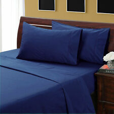 Quality 1000TC Egyptian Cotton Complete Bedding Sets UK Sizes Navy Blue Solid