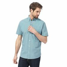 Maine New England Mens Big And Tall Light Turquoise Grid Checked Shirt