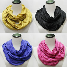 Women Fashion Basic Long Crinkle Solid Silk Cotton circle Infinity Scarves Scarf