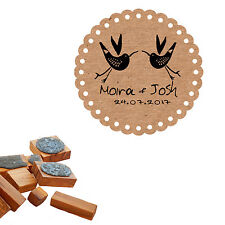 Personalised 2 Birds Olive Wood/Clear Stamp
