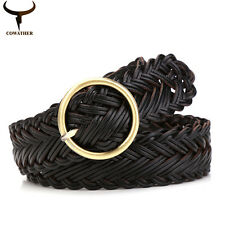 women belt knitted leather belts for women good pin buckle female strap newest d