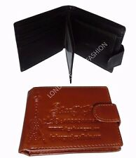 Men's Embossed Wallet ID/Card Bag Leather Black/Brown Large Zipped Coin Pocket