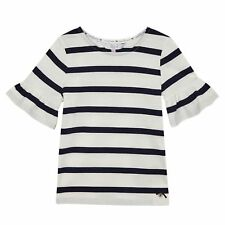 J By Jasper Conran Kids Girls' White And Navy Striped Fluted Sleeved Top