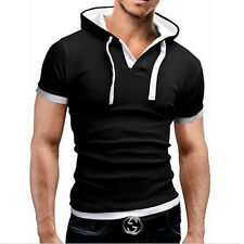 Mens Hooded V Neck Short Sleeve Cotton Casual Slim Fit Tee T-Shirts Shirt Tops