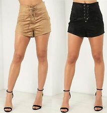 Womens Ladies High Waisted Hotpants Faux Suede Corset Detail Shorts Pants