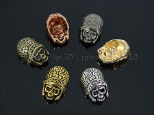 Solid Metal Big Brain Skull Bracelet Connector Charm Beads Silver Gold Gunmetal