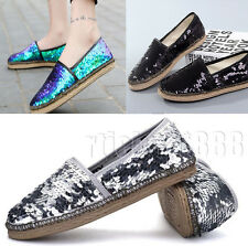Ladies Flats Glitter Espadrilles Casual Slip On Canvas Shoes Girls Comfort Pumps