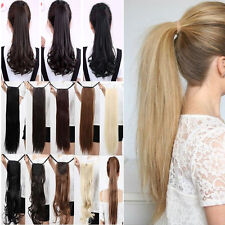 Women Long Real Straight Ponytail Hair Hairpiece Extension Clip in Blonde Brown