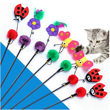 1Pcs Plastic Pet Wand Tease Cat Interactive Plush Ball Kitten Toy Funny Feather